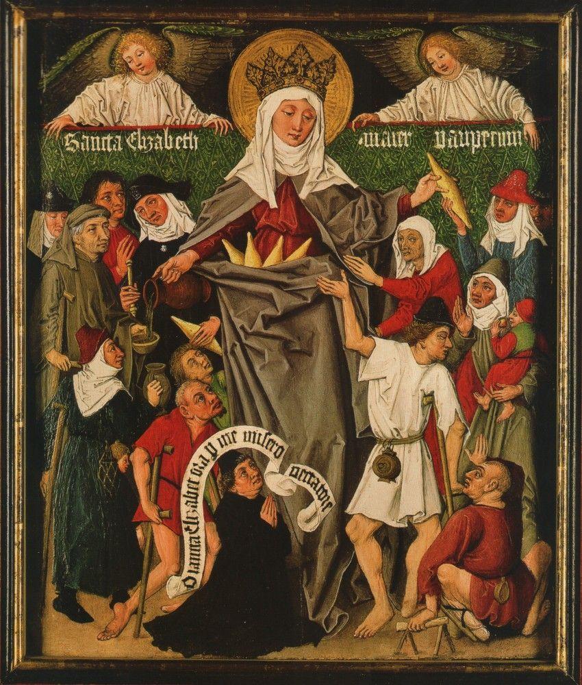 Meister der Gewandstudien: Elisabeth-Triptychon (Ausschnitt), um 1480, in der Staatlichen Kunsthalle in Karlsruhe. Joachim Schäfer, Ökumenisches Heiligenlexikon