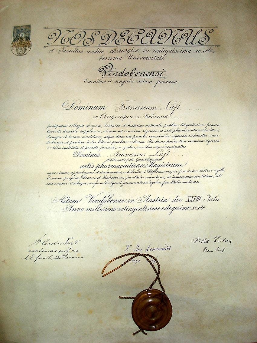 Geschichte - Sponsionsurkunde Franz Luft aus dem Jahr 1886. Sie trägt die drei Unterschriften von Größen der Chemie und Physik, die damals an der Universität Wien lehrten, unter anderem von Josef Loschmidt.